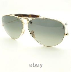 Ray Ban 3138 181/71 62mm Gold Havana Gray Fade Shooter New Authentic Sunglasses