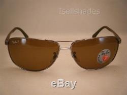 Ray Ban 3506 Gunmetal w Brown Polar Lens NEW sunglasses (RB3506 132/83)
