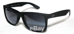 Ray Ban 4165 54 Justin 601/8g Black Rubber Sunglasses Sole Nero Opaco Grey