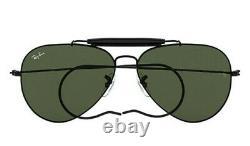 Ray Ban AVIATOR Outdoorsman Sunglasses Black RB 3030 L9500 G-15 58MM NIB