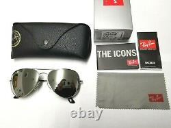 Ray-Ban Aviator Large Metal II Sunglasses (Silver Frame/Lenses) 62mm RB3026
