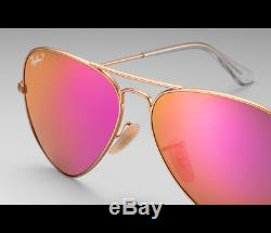 Ray-Ban Aviator RB3025 112/1Q Polarized Cyclamen Flash Matte Gold Sunglasses NIB