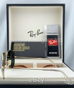 Ray Ban Aviator RB3025K Sunglasses 160/N5 Solid 18K Gold Green Polarized Lens 58