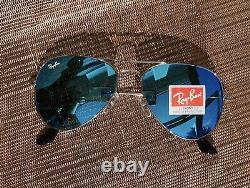 Ray Ban Aviator Sunglasses Gold Frame with Blue Flash Mirror Lens 58mm US