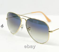 Ray-Ban Aviator Sunglasses RB3025 001/3F Blue Gradient Lens Gold Metal 58mm