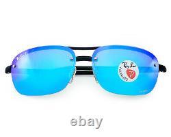 Ray-Ban Black Frame/Polarized Blue Mirror Chromance Lens Sunglasses 63mm
