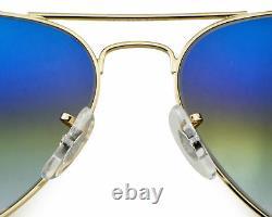 Ray-Ban Blaze Aviator Gold Frame Light Blue Gradient Lenses Sunglasses 58mm