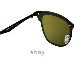 Ray-Ban Blaze Clubmaster Black Frame Blue Mirror Lenses Unisex Glasses 47mm