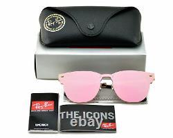 Ray-Ban Blaze Clubmaster Gold Frame Pink Mirror Lenses Unisex Sunglasses Rayban