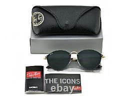 Ray-Ban Blaze Round Gold Frame Green Classic Lenses Unisex Sunglasses 59mm