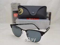 Ray Ban CLUBMASTER METAL (RB3716-186/R5 51) Shiny Black Top Matte with Blue Lens