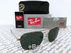 Ray-Ban Caravan Sunglasses RB3136 001 Gold Frame/ Green G-15 Lens/ 58mm-15mm