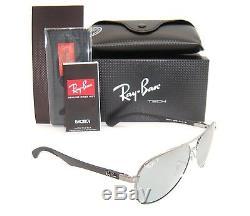 Ray Ban Carbon Fiber RB 8313 004/K6 Shiny Gunmetal Polarized Sunglasses New