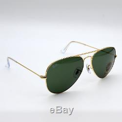 Ray-Ban Classic Aviator Sunglasses Green G-15 Lens / Gold RB3025 L0205 58mm New