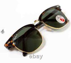 Ray-Ban Clubmaster POLARIZED Tortoise Frame RB3016 990/58 G-15 Green Lens 51mm