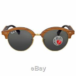 Ray Ban Clubround Wood RB 4246M 1181/58 Green Polarized Sunglasses New Italy