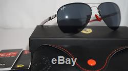 Ray-Ban Ferrari RB 3460M F013/87 Silver Red Carbon Fiber Sunglasses New Italy