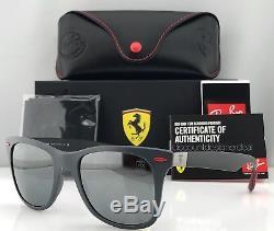 Ray-Ban Ferrari Wayfarer RB4195M Sunglasses Matte Gray Silver Lens F605/6G 52mm