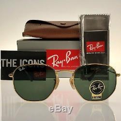 4660bceca Ray-Ban Hexagonal Flat Lens RB3548N 001 54mm Gold Frame Green Lens  Sunglasses