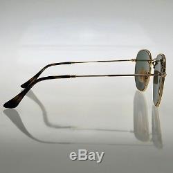 Ray-Ban Hexagonal Flat Lens RB3548N 001 54mm Gold Frame Green Lens Sunglasses