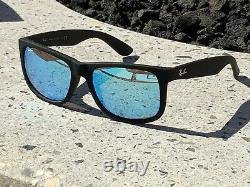 Ray-Ban Justin Classic Matte Black Frame with Blue Mirror Lens RB4165 622/55 55mm