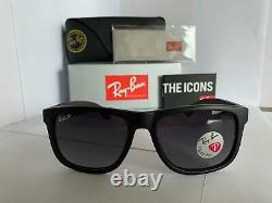 Ray-Ban Justin RB4165 622/8G Matte Black Grey Gradient Sunglasses 55mm Frame