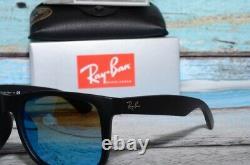 Ray-Ban Justin RB4165-F 622/55 Black Blue Mirror Unisex Sunglasses 58mm