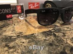 1ccb6c20290fb7 Ray-Ban Justin RB4165 Sunglasses Matte Black Frame Grey Gradient Lenses 54mm
