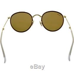 Ray-Ban Men's Mirrored Round Folding RB3517-001/Z2-51 Gold Sunglasses