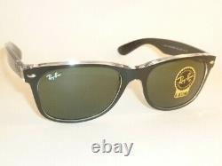 Ray Ban New WAYFARER Black On Transparent RB 2132 6052 G-15 Green Lenses 58mm