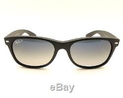 Ray Ban New Wayfarer 2132 601S/78 Matte Black Blue Grey Gradient Polarized New