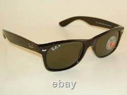 Ray Ban New Wayfarer Black Frame RB 2132 901/58 Glass Polarized Green 58mm