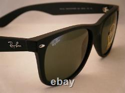 Ray Ban New Wayfarer Rubber Black w Green Crystal (G-15) Lens (RB2132 622 58)