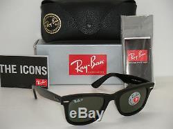 Ray Ban Original Wayfarer Black / Natural green Polarized RB 2140 901/58 50mm