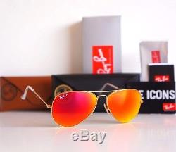 Ray-Ban Polarized Aviator Orange Mirror Flash Lens Gold Frame RB3025 112/4D 58mm