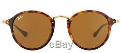 Ray-Ban RB 2447 1160 Spotted Brown Havana Round Fleck Sunglasses Brown Lens 52mm