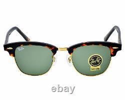 Ray-Ban RB 3016 Clubmaster Classic W0366 Tortoise Frame G-15 Lenses Unisex 49mm