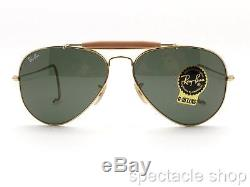 Ray Ban RB 3030 L0216 58mm Gold G15 58 Outdoorsman New Authentic