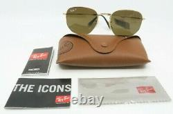 Ray-Ban RB 3548N 001/57 54mm Gold Hexagonal Polarized Sunglasses with case