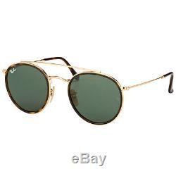 Ray-Ban RB 3647N 001 Round Double Bridge Gold Havana Sunglasses Green Lens
