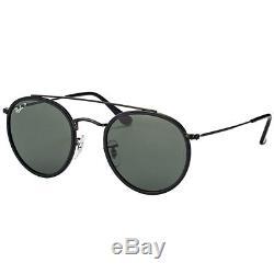 Ray-Ban RB 3647N 002/58 Round Double Bridge Black Sunglasses Green Polarized
