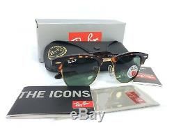 Ray Ban RB3016 Clubmaster Tortoise Frame 990/58 POLARIZED Green Lens 49mm