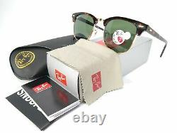 Ray Ban RB3016 Clubmaster Tortoise Frame 990/58 Polarized Green Lens 51mm L