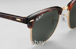 Ray Ban RB3016 Clubmaster Tortoise Frame 990/58 Polarized Green Lens 51mm L