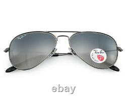 Ray-Ban RB3025 AVIATOR 004/78 Gunmetal, Dark Blue/Grey Gradient Sunglasses 58mm