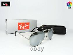 Ray-Ban RB3026 Aviator Silver Frame & Silver Polarized Lens Sunglasses 62mm