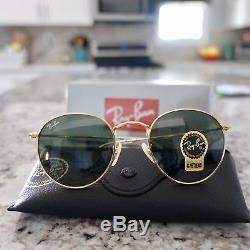 8120e52102e87 Ray-Ban RB3447 Round Metal 001 Gold Frame Green Classic G-15 Lens