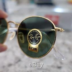 Ray-Ban RB3447 Round Metal 001 Gold Frame Green Classic G-15 Lens