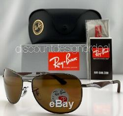 Ray-Ban RB3519 Pilot Sunglasses 029/83 Brown Gray Brown Polarized Lens 64mm NEW