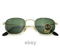 Ray-Ban RB3548N Hexagonal Flat Gold Frame/Green Classic G-15 Lens Sunglasses 51m